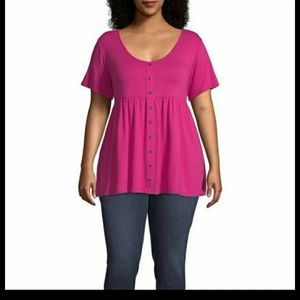 Plus Size Hot Pink Babydoll Top